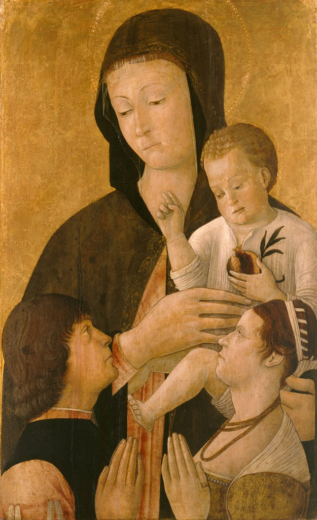 Stock Photo: 4266-8076 Virgin Mary with Jesus child by Gentile Bellini, oil on canvas, 1460, circa 1429-1507, Venetian School, Germany, Berlin, Staatliche Museen, 73,5x45,5