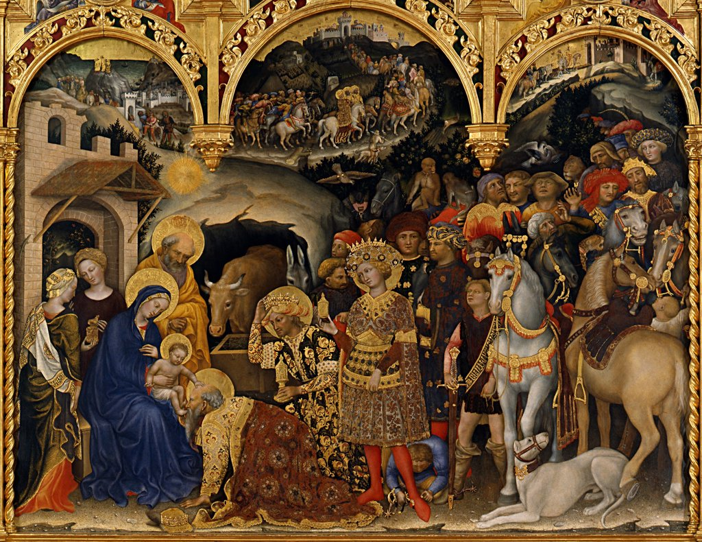 Stock Photo: 4266-8077 Adoration of Christ Child by Gentile da Fabriano, tempera on panel, 1423, circa 1370-1427, School of Umbria, Italy, Florence, Galleria degli Uffizi, 283x300