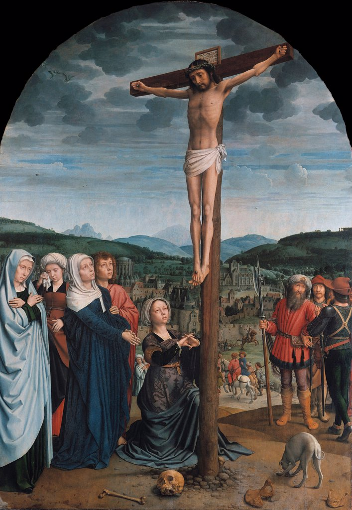 Stock Photo: 4266-8090 Crucifixion by Gerard David, oil on wood, circa 1515, circa 1460-1523, Germany, Berlin, Staatliche Museen, 141x100