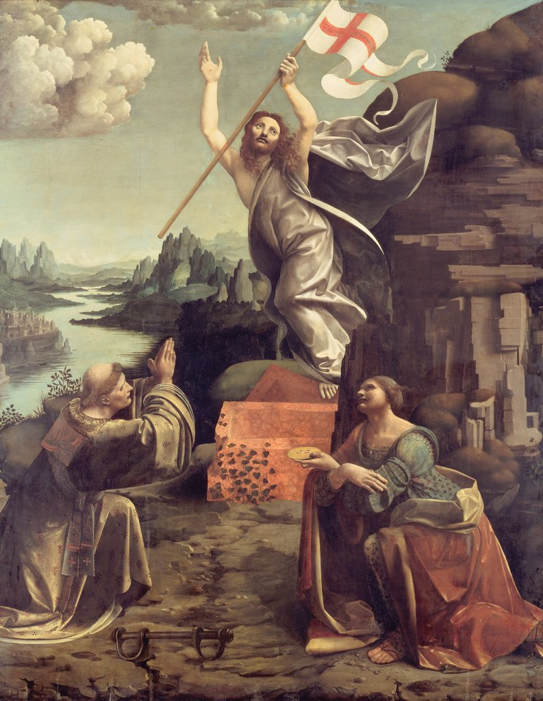 Resurrection of Jesus Christ by Giovanni Antonio Boltraffio, oil on wood, circa 1491, 1467-1516, Milanese school, Germany, Berlin, Staatliche Museen, 235x186 : Stock Photo