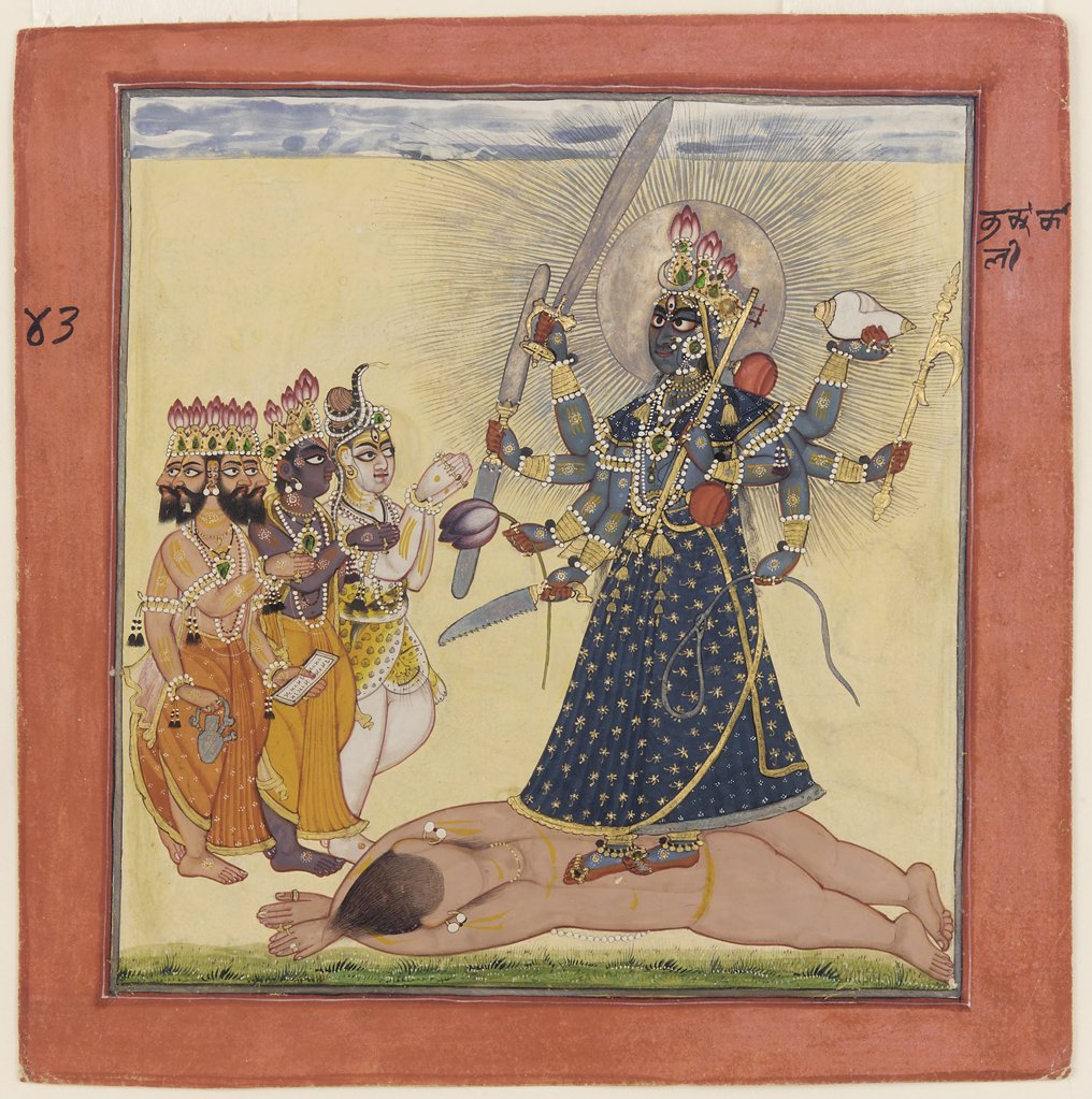 Stock Photo: 4266-8120 Devi Bhagavata by unknown painter, watercolor, silver and bronze on paper, circa 1660, USA, Washington, Freer Gallery of Art, 21,7x21,5