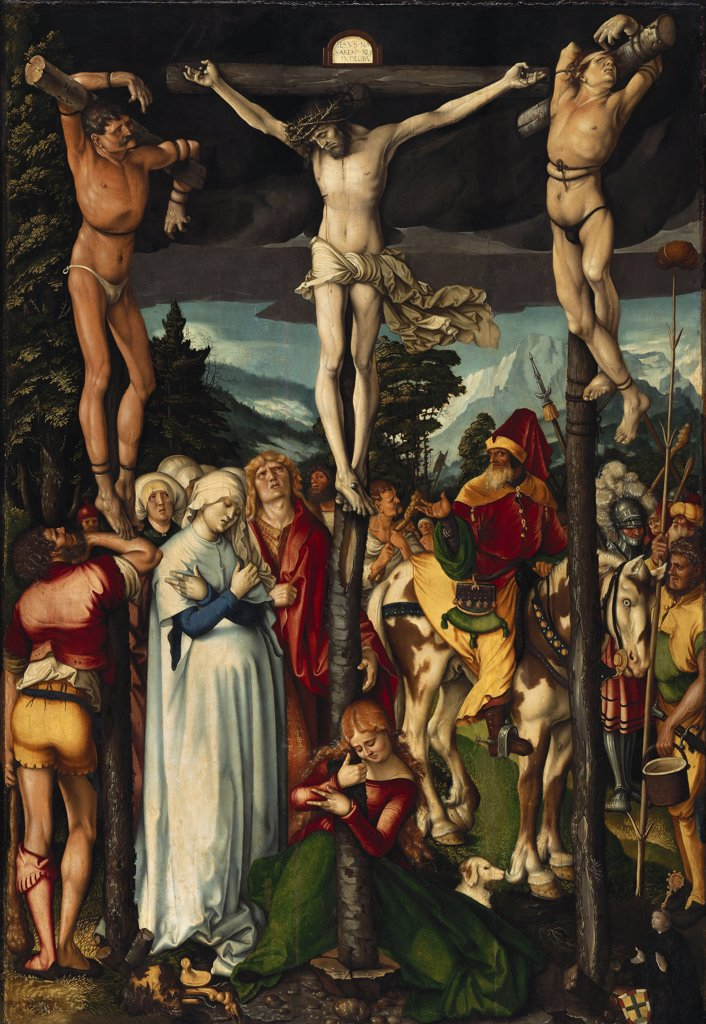 Crucifixion by Hans Baldung, oil on wood, 1512, 1484-1545, Germany, Berlin, Staatliche Museen, 151x104 : Stock Photo