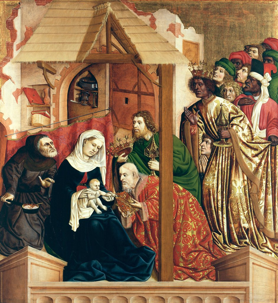 Adoration of Christ Child by Hans Multscher, oil on wood, 1437, circa 1400-1467, Germany, Berlin, Staatliche Museen, 150x140 : Stock Photo