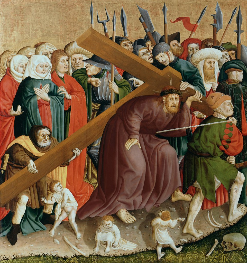 Stock Photo: 4266-8142 Christ carrying cross by Hans Multscher, oil on wood, 1437, circa 1400-1467, Germany, Berlin, Staatliche Museen, 150x140