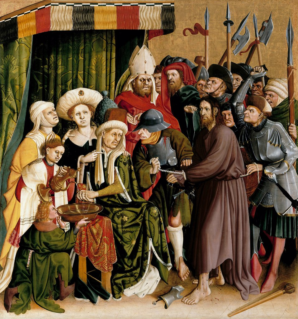 Stock Photo: 4266-8143 Christ before Pilatus by Hans Multscher, oil on wood, 1437, circa 1400-1467, Germany, Berlin, Staatliche Museen, 150x140