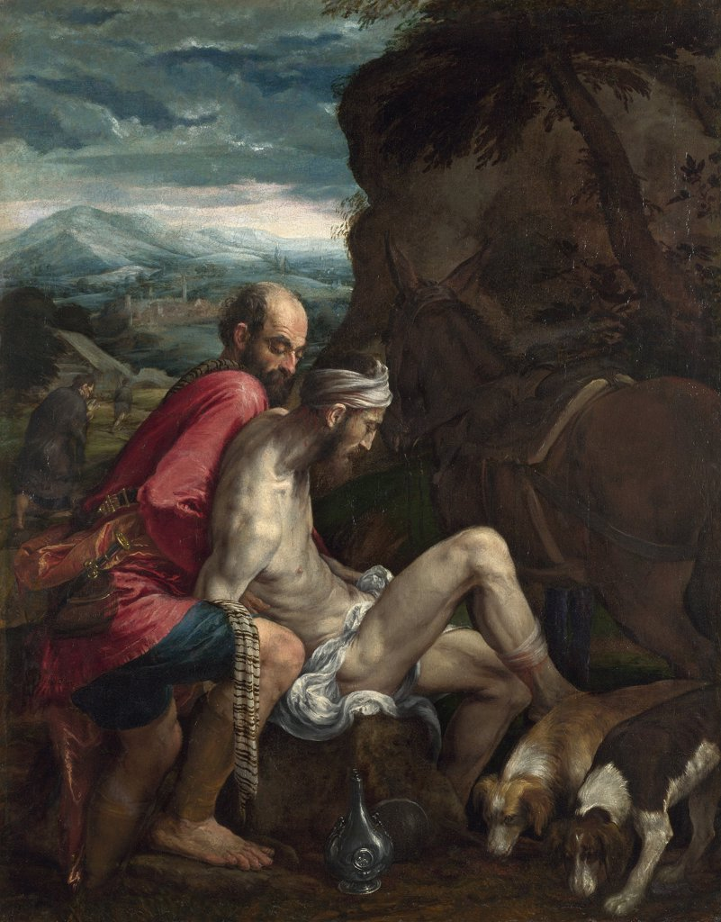 Stock Photo: 4266-8169 Good Samaritan by Jacopo Bassano il Vecchio, oil on canvas, circa 1562-1563, circa 1510-1592, Venetian School, England, London, National Gallery, 102,1x79,7
