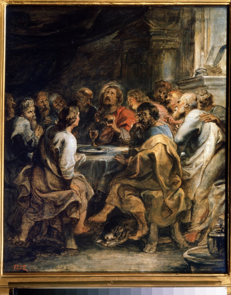 Stock Photo: 4266-8173 Last supper by Pieter Paul Rubens, oil on wood, circa 1630-1631, 1577-1640, Russia, Moscow, State Pushkin Museum of Fine Arts, 45,8x41