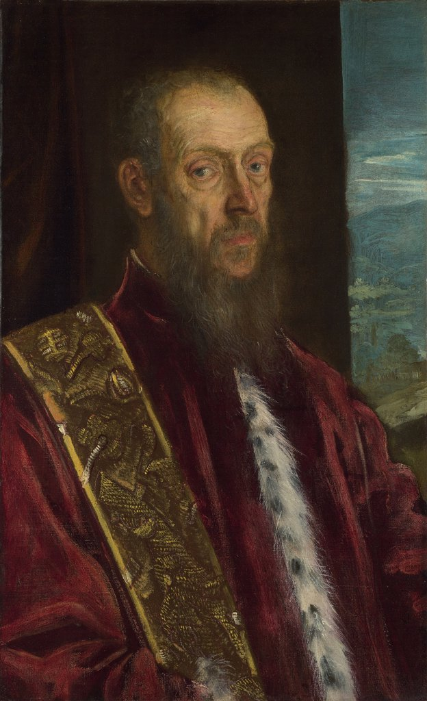Portrait of older man by Jacopo Tintoretto, oil on canvas, circa 1575, 1518-1594, Venetian School, England, London, National Gallery, 85,3x52,2 : Stock Photo