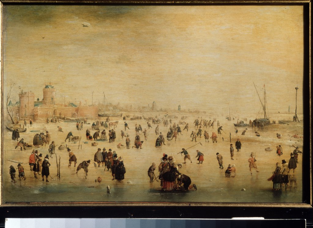 People on frozen river by Hendrick Avercamp, Oil on wood, 1585-1634, Russia, Moscow, State A. Pushkin Museum of Fine Arts, 24x38 : Stock Photo