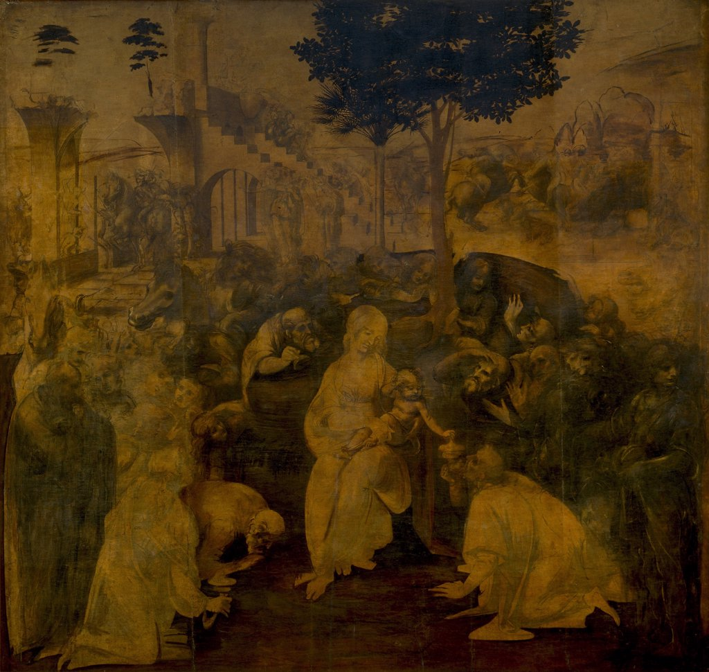Adoration Of Magi by Leonardo da Vinci, Tempera and oil on wood, circa 1480, 1452-1519, Italy, Florence, Galleria degli Uffizi, 243x246 : Stock Photo
