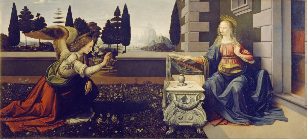 Annunciation by Leonardo da Vinci, Oil on wood, circa 1471-1472, 1452-1519, Italy, Florence, Galleria degli Uffizi, 98x217 : Stock Photo