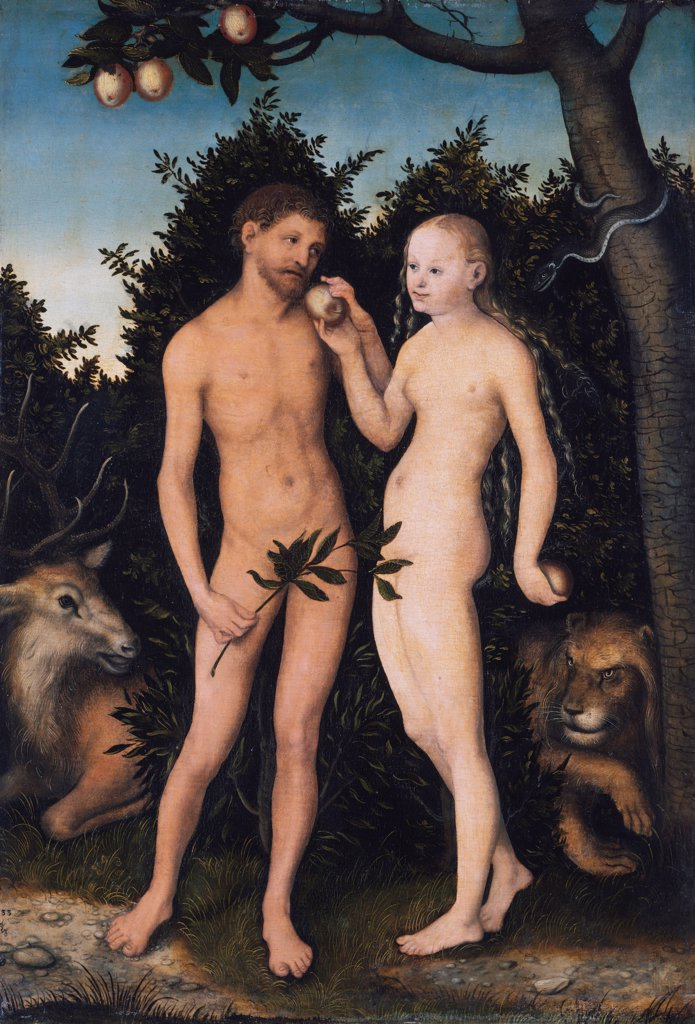Garden of Eden by Lucas Cranach the Elder, Oil on wood, 1531, 1472-1553, Germany, Berlin, Staatliche Museen, 50, 4x35, 5 : Stock Photo