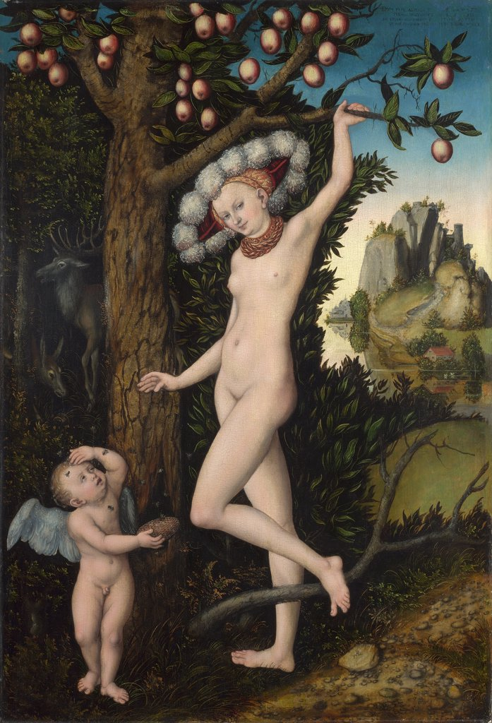 Venus and Cupid by Lucas Cranach the Elder, Oil on wood, circa 1525, 1472-1553, Great Britain, London, National Gallery, 81, 3x54, 6 : Stock Photo