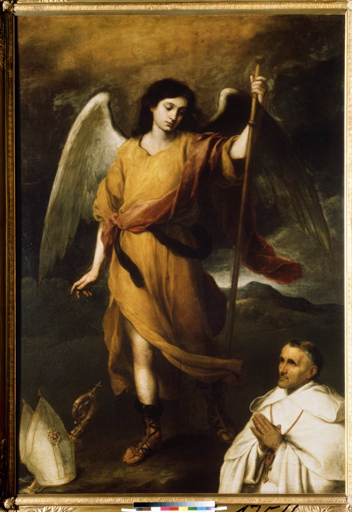 Stock Photo: 4266-8273 Archangel Raphael and Bishop Domonte by Bartolome Esteban Murillo, Oil on canvas, 1617-1682, Russia, Moscow, State A. Pushkin Museum of Fine Arts, 211x150