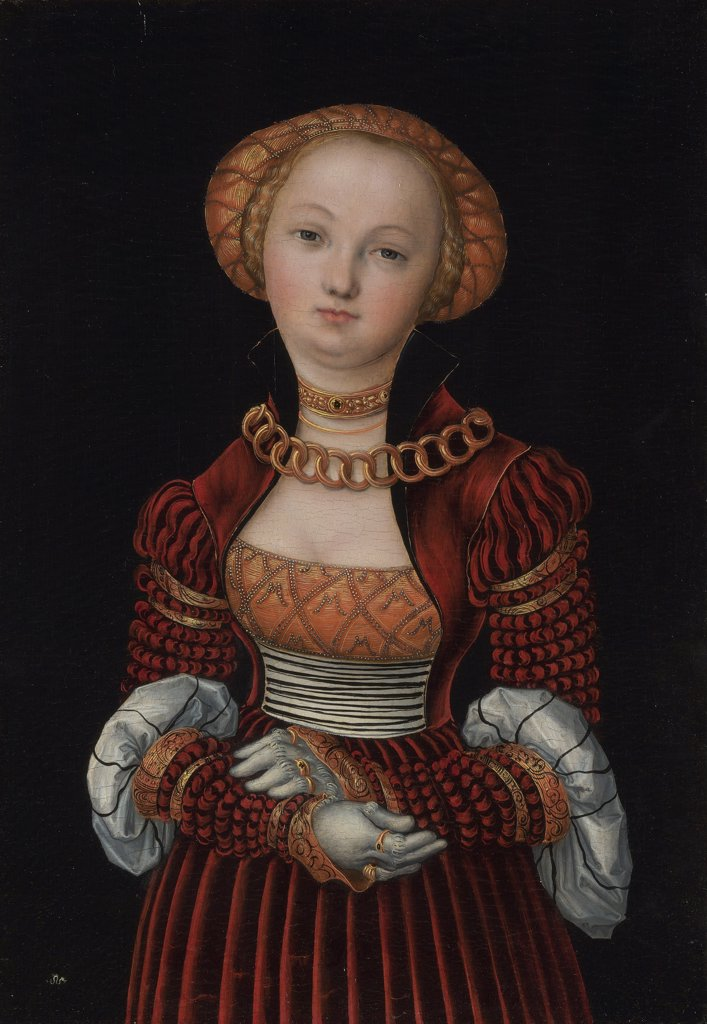 Portrait of woman by Lucas Cranach the Elder, Oil on wood, circa 1525, 1472-1553, Great Britain, London, National Gallery, 35, 9x25, 1 : Stock Photo