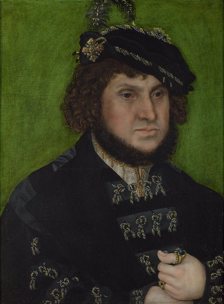 Portrait of elector John of Saxony by Lucas Cranach the Elder, Oil on wood, 1509, 1472-1553, Great Britain, London, National Gallery, 41, 3x31 : Stock Photo