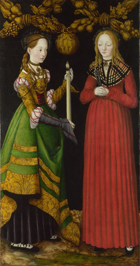 Religious illustration with Saint Apollonia and Saint Genevieve by Lucas Cranach the Elder, Oil on wood, 1506, 1472-1553, Great Britain, London, National Gallery, 123x67 : Stock Photo
