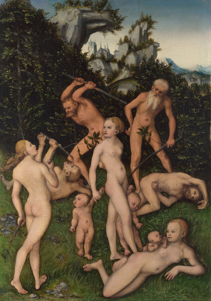 Illustration with naked people by Lucas Cranach the Elder, Oil on wood, circa 1530, 1472-1553, Great Britain, London, National Gallery, 50, 2x35, 7 : Stock Photo