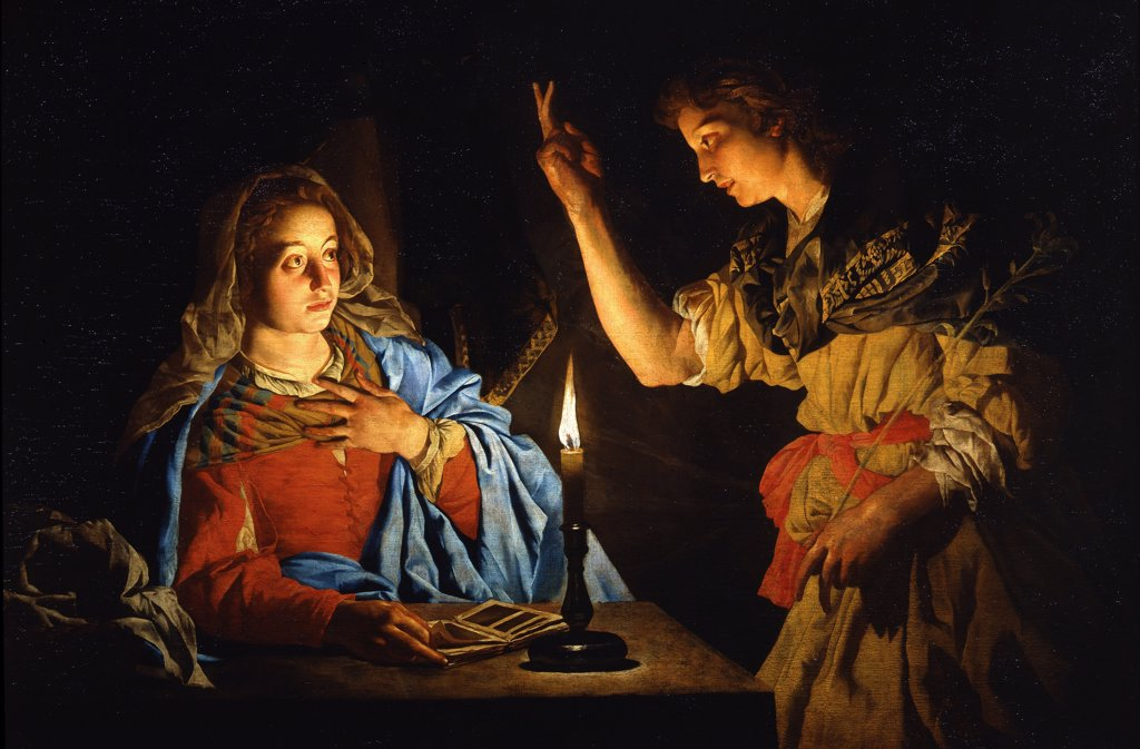 Stock Photo: 4266-8286 Annunciation by Matthias Stomer, Oil on canvas, circa 1600-after 1650, 17th century, Italy, Florence, Galleria degli Uffizi, 113x166