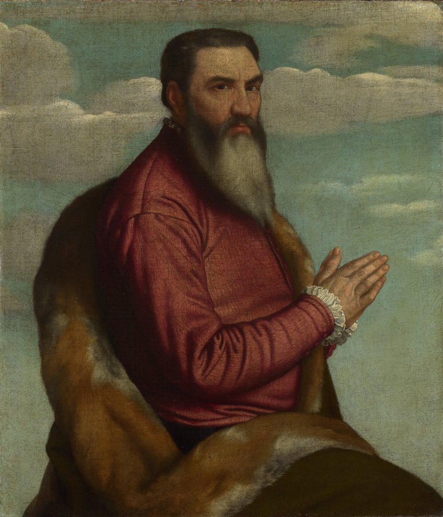 Stock Photo: 4266-8294 Portrait of man by Moretto da Brescia, Oil on canvas, circa 1545, circa 1498 - 1554, Great Britain, London, National Gallery, 103, 7x89, 4