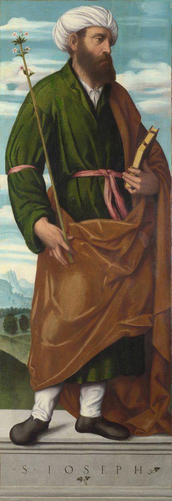 Stock Photo: 4266-8296 Religious illustration with Saint Joseph by Moretto da Brescia, Oil on canvas, circa 1540, circa 1498 - 1554, Great Britain, London, National Gallery, 153, 6x54, 1