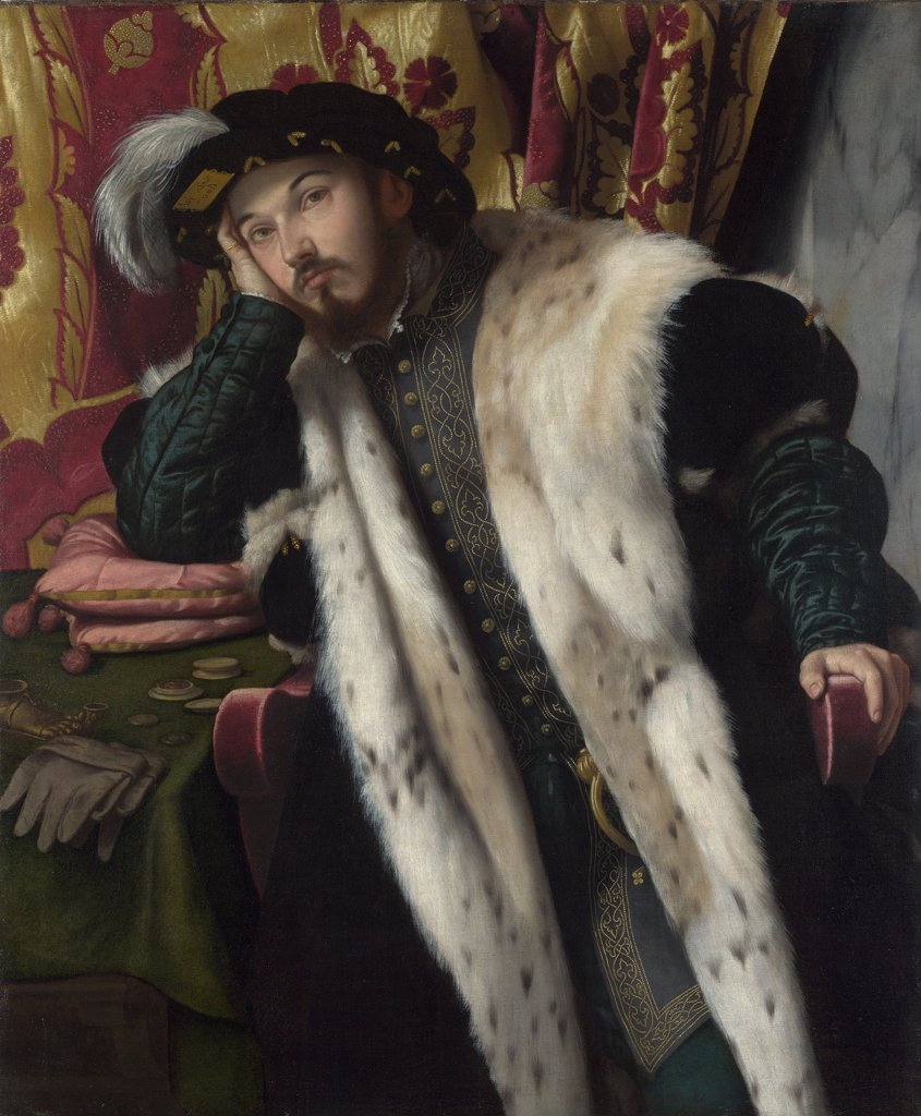 Stock Photo: 4266-8297 Portrait of man by Moretto da Brescia, Oil on canvas, circa 1540, circa 1498 - 1554, Great Britain, London, National Gallery, 114x94, 4