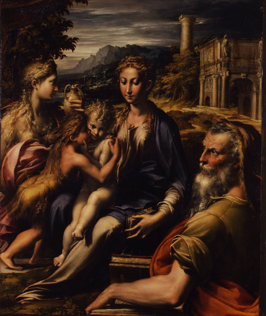 Holy Family and Mary Magdalene by Parmigianino, Oil on wood, circa 1535, 1503-1540, Italy, Florence, Galleria degli Uffizi, 75, 5x60 : Stock Photo