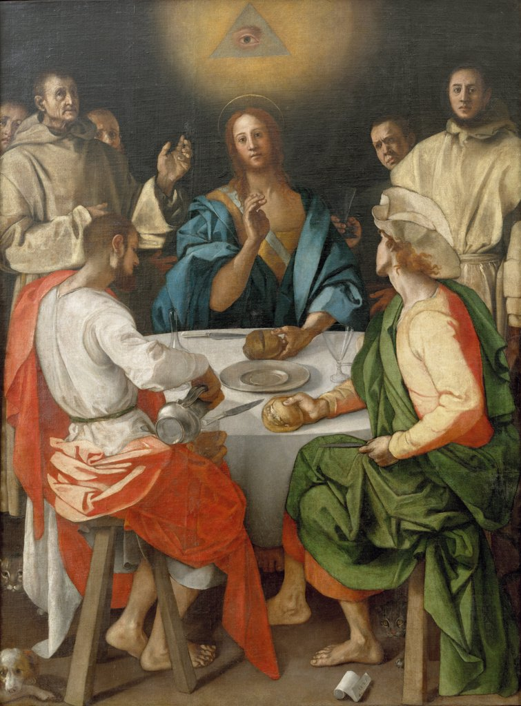 Supper at Emmaus by Pontormo, Oil on canvas, 1525, 1494-1557, Italy, Florence, Galleria degli Uffizi, 230x173 : Stock Photo