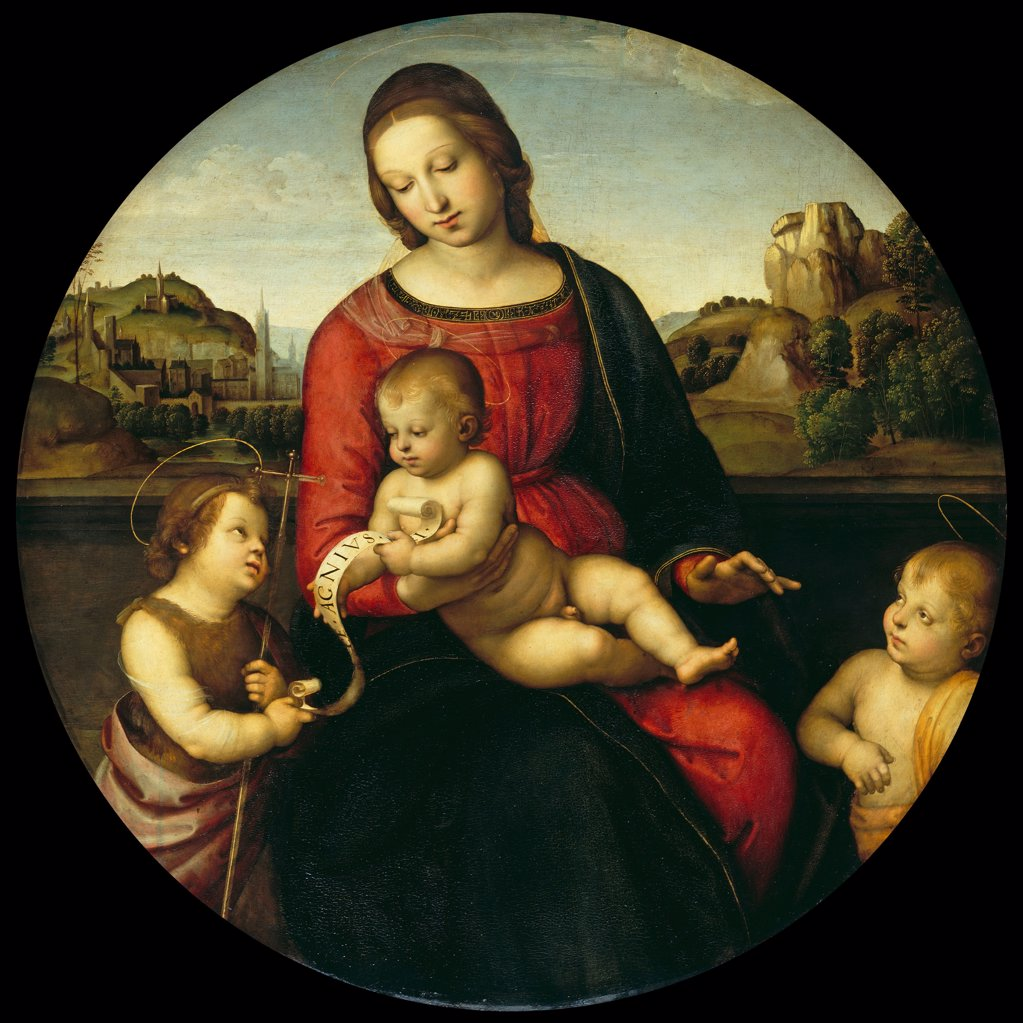 Blessed Virgin Mary by Raphael, Oil on wood, circa 1505, 1483-1520, Germany, Berlin, Staatliche Museen, D 88, 5 : Stock Photo