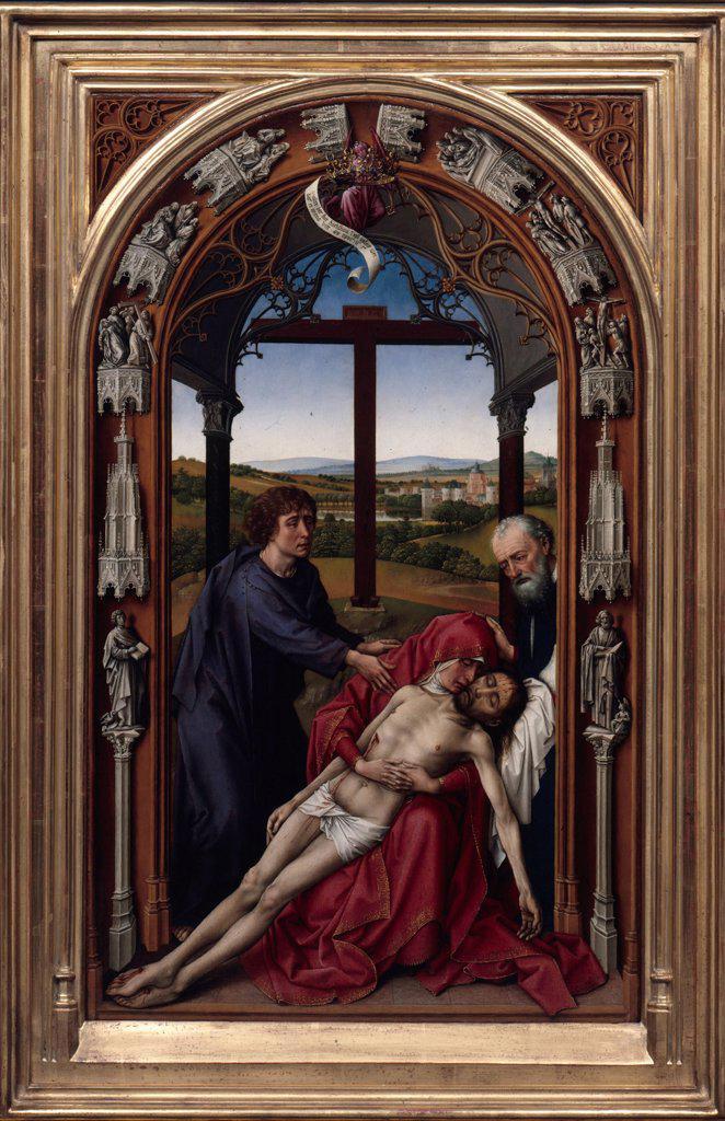 Miraflores Altar by Rogier van der Weyden, Oil on wood, circa 1440, circa1399-1464, Germany, Berlin, Staatliche Museen, 71x43 : Stock Photo