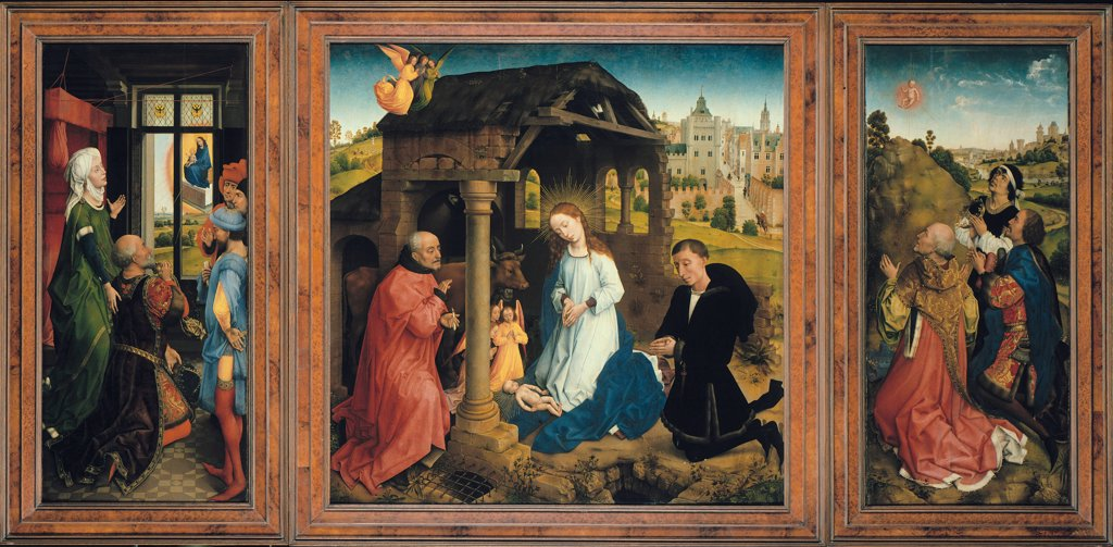 Middelburg Altar by Rogier van der Weyden, Oil on wood, circa 1450, circa1399-1464, Germany, Berlin, Staatliche Museen, 93, 5x175, 3 : Stock Photo