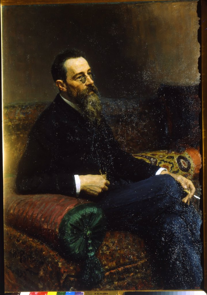 Stock Photo: 4266-8389 Portrait of composer Nikolai Rimsky-Korsakov by Ilya Yefimovich Repin, Oil on canvas, 1893, 1844-1930, Russia, St. Petersburg, State Russian Museum, 125x89, 5