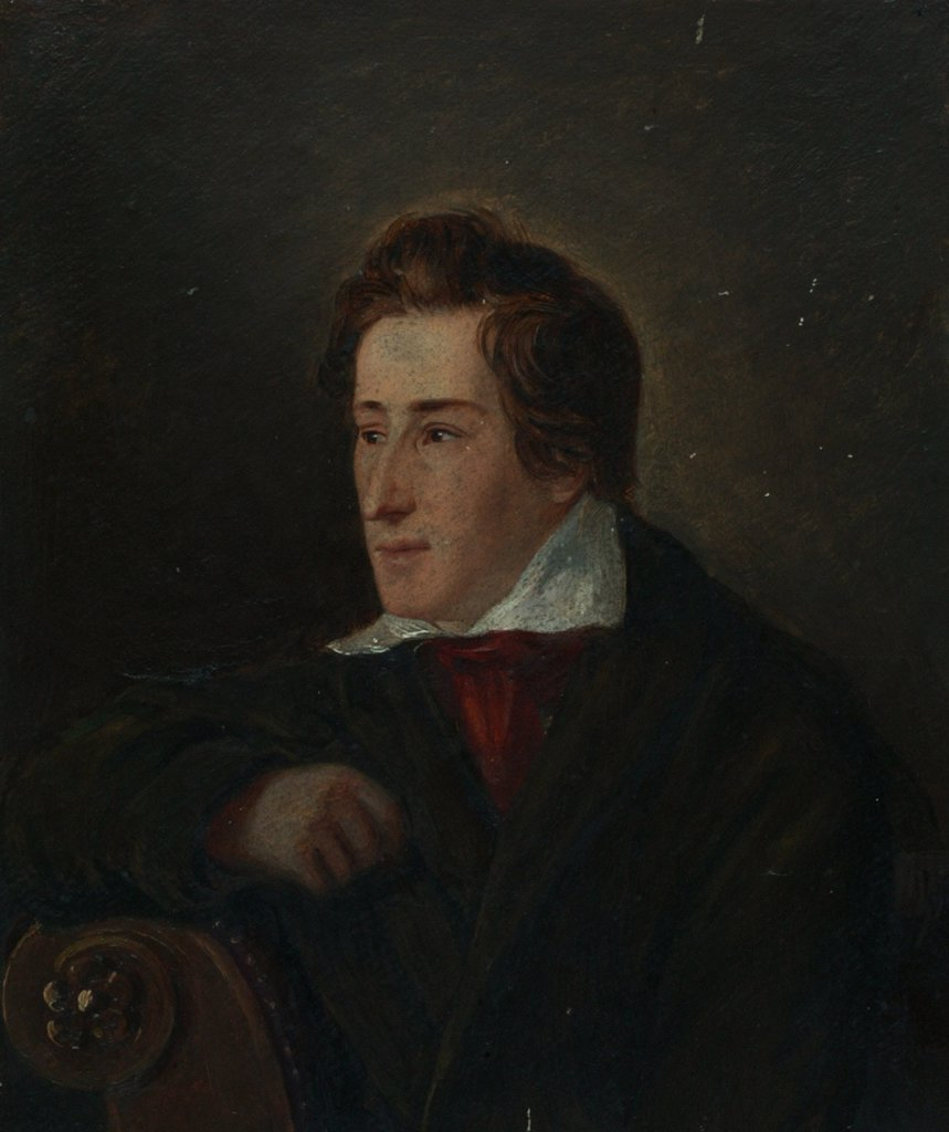 Stock Photo: 4266-8396 Portrait of Heinrich Heine by Moritz Daniel Oppenheim, Oil on wood, 1831, 1800-1882, Germany, Dusseldorf, Heinrich-Heine-Institut