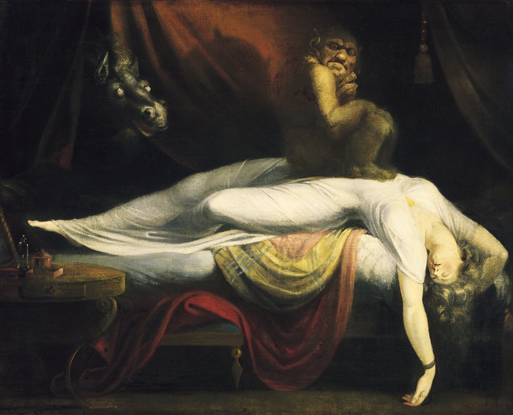 Stock Photo: 4266-8409 Sleeping woman with demons by Johann Heinrich Fussli, Oil on canvas, 1781, 1741-1825, Detroit Institute of Art