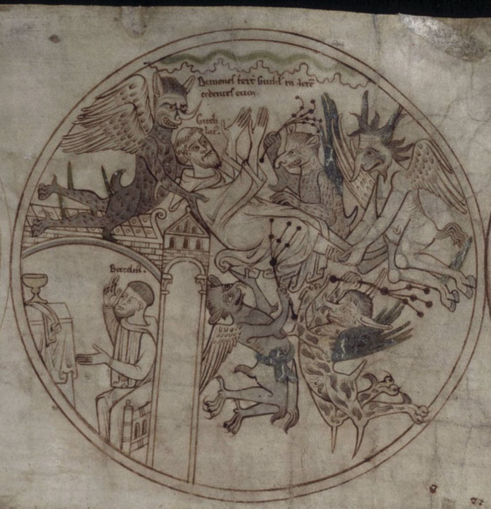 Life of Saint Guthlac by Anonymous artist, Watercolour and ink on paper, 12th century, British Library : Stock Photo