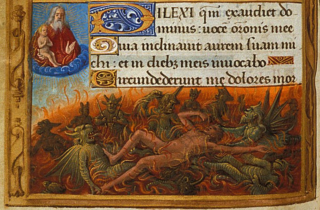 Stock Photo: 4266-8414 Saint Lazarus with demons by Jean Poyet, Watercolour on parchment, circa 1500, active 1483-1497, British Library