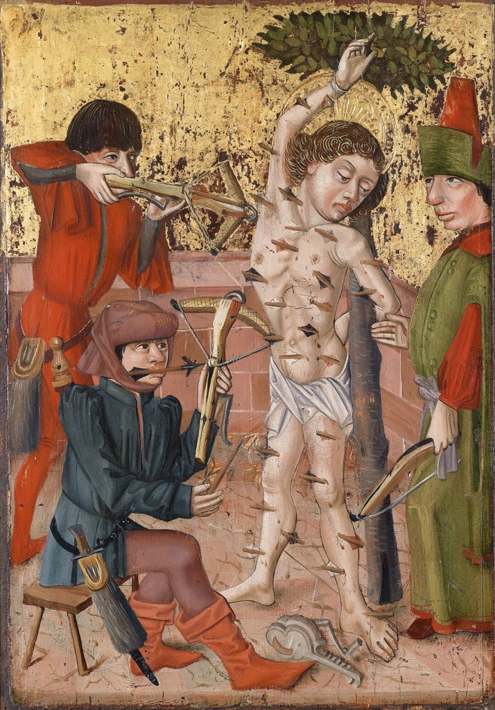 Stock Photo: 4266-8430 Religious illustration with Saint Sebastian by Master of the Middle-Rhine, Oil on wood, circa 1470-1480, active 1470-1480, Private Collection, 58x40
