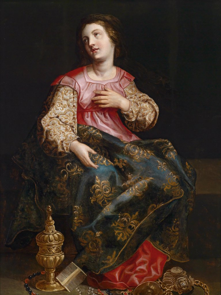 Stock Photo: 4266-8447 Religious illustration with Mary Magdalene by Hendrik I van Balen, Oil on wood, 1575-1632, Private Collection, 99x76