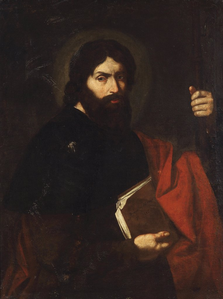Stock Photo: 4266-8450 Religious illustration with Saint James the Great by Jose de Ribera, Oil on canvas, 1591-1652, Private Collection, 102x78