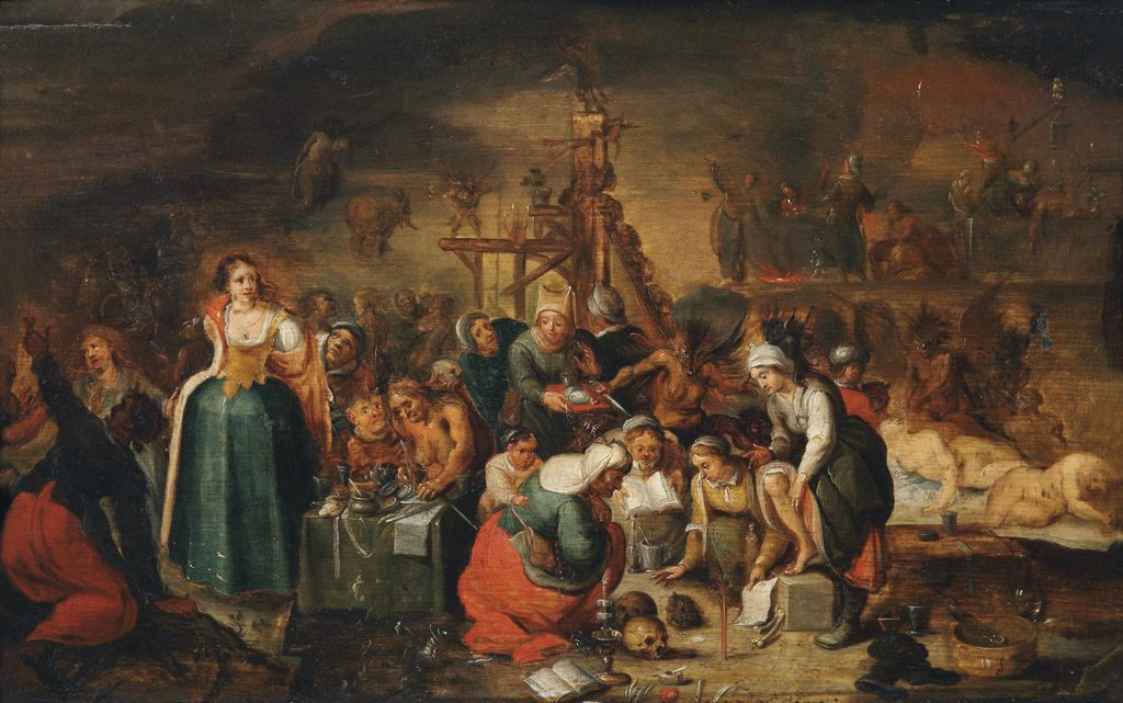 Stock Photo: 4266-8453 Judging of witch by Frans Francken the Younger, Oil on wood, 1581-1642, 17th century, Private Collection, 36x56, 5