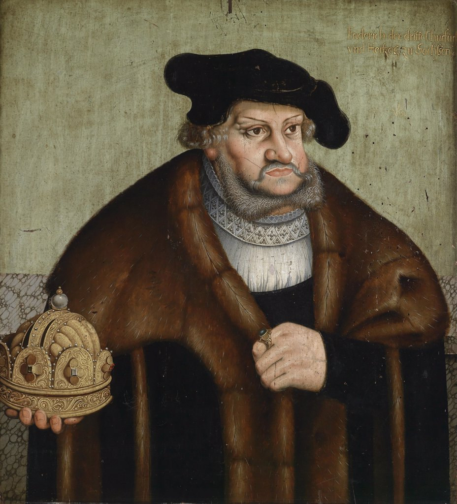 Stock Photo: 4266-8469 Portrait of elector of Saxony Frederick III by Lucas Cranach the Elder, Oil on wood, 1472-1553, Private Collection, 65x60, 5