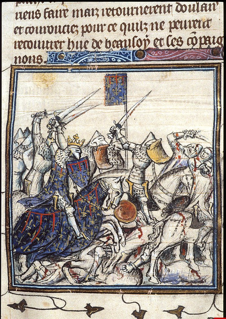 Battle by Anonymous artist, Watercolour on parchment, after 1380, British Library : Stock Photo