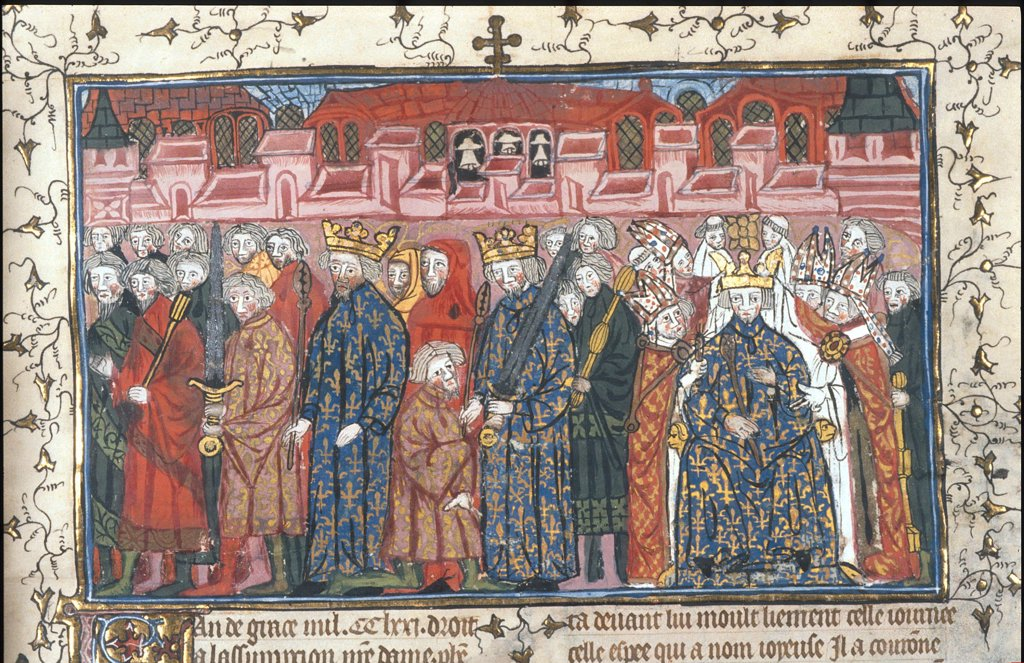 Stock Photo: 4266-8482 Illuminated manuscript with Henry II and Philip II by Anonymous artist, Watercolour on parchment, after 1380, British Library