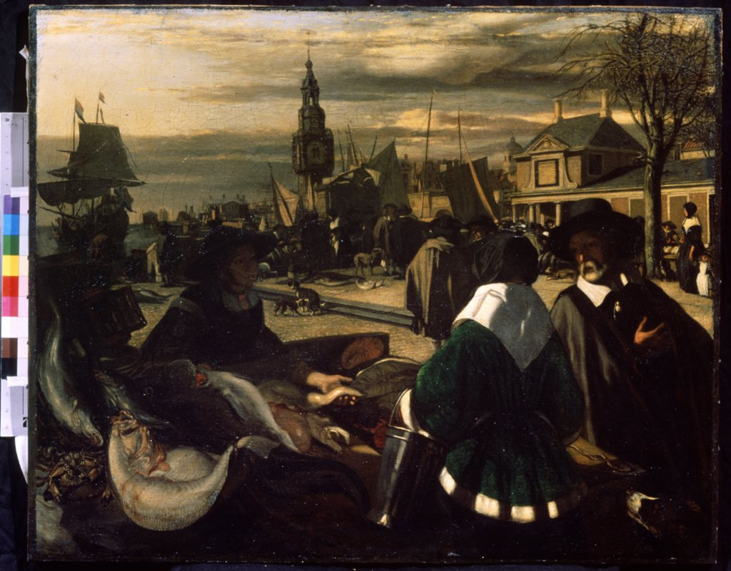 Woman selling fishes by Emanuel de Witte, Oil on canvas, 1660s, 1616/17-1692, Russia, Moscow, State A. Pushkin Museum of Fine Arts, 60, 7x75, 5 : Stock Photo