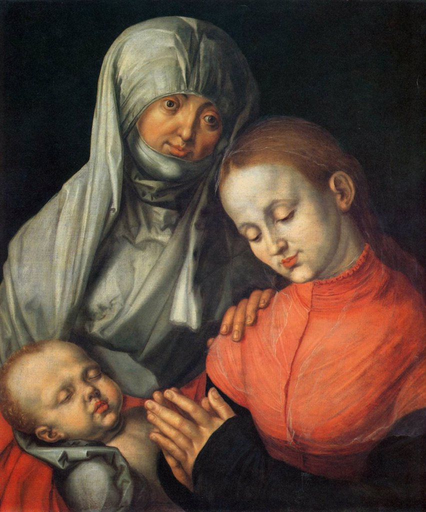 Virgin Mary, Elizabeth and Infant Christ by Albrecht Durer, Oil on wood, 1519, 1471-1528, Usa, New York, Metropolitan Museum of Art, 59, 1x49, 1 : Stock Photo