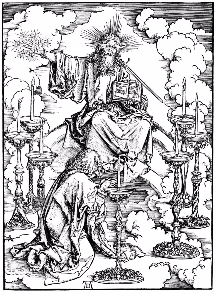 Stock Photo: 4266-8628 Revelation of Saint by Albrecht Durer, Woodcut, circa 1497, 1471-1528, Russia, Moscow, Russian State Library, 39, 5x28, 5