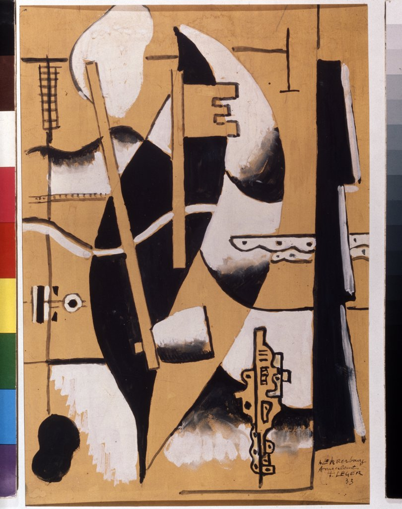 Stock Photo: 4266-8631 Leger, Fernand (1881-1955) State A. Pushkin Museum of Fine Arts, Moscow 1933 55x33 Gouache and Tempera on cardboard Modern France Abstract Art