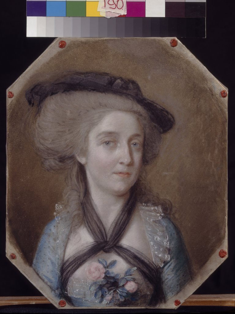 Stock Photo: 4266-8655 Portrait of woman in hat by Johann Heinrich Schmidt, Pastel on parchment, 1784, 1749-1829, Russia, Moscow, State A. Pushkin Museum of Fine Arts, 29x23