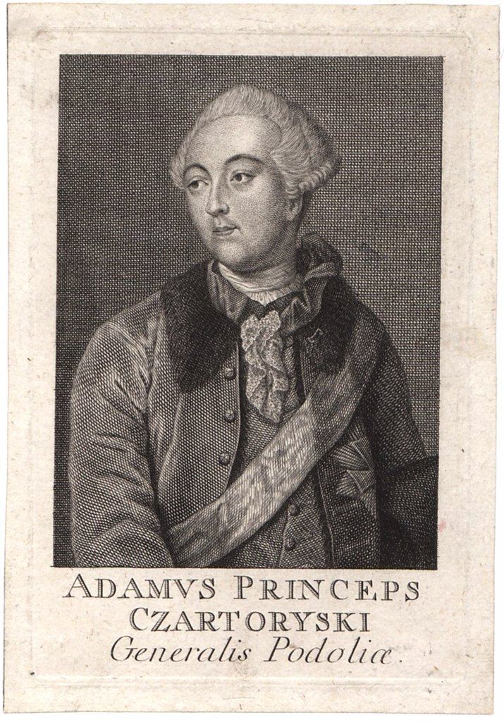 Stock Photo: 4266-8674 Portrait of prince Adam Czartoryski by Anonymous artist, Etching, Private Collection