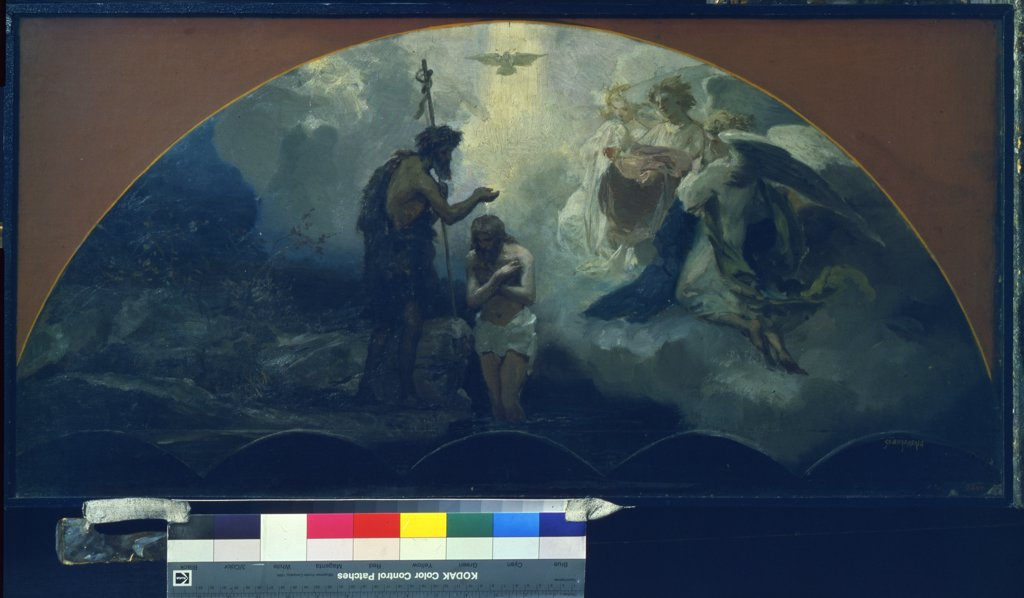 Stock Photo: 4266-8695 Baptism of Christ by Henryk Siemiradzki, Oil on cardboard, 1876, 1843-1902, Russia, St. Petersburg, State Russian Museum, 42x86